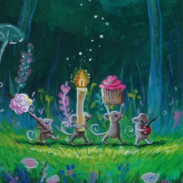 Close up of the dinner party illustration kidlit woodlandcreatures stringfellowart